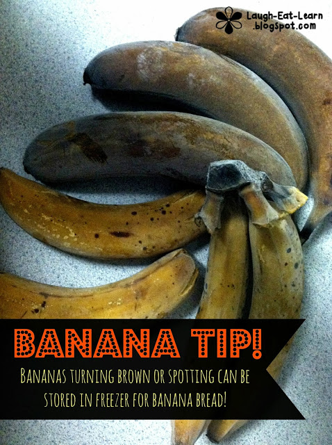 This is the best banana bread I've ever made! It's so easy, quick (no need for a mixer), and delicious! Also I'm sharing a tip for those brown bananas without tossing them away!
