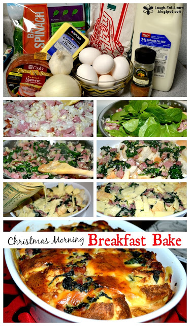 Every year Jonathan and I begin our festivities with this Christmas Morning Bake!  It's the perfect combination of cheesy, crusty, and eggy (is that a word?) all in one dish.  The best part? You can prep it the day before and stick it in the morning to bake the morning of!