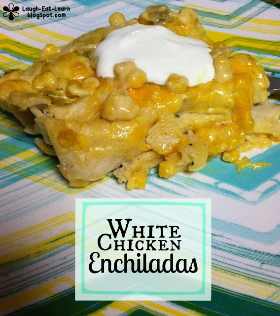 If you are looking for an easy freezer meal, this white chicken enchiladas is it. It's an easy, creamy, corn filled sauce with shredded chicken. I make this ahead of time and freeze a couple pans for dinner prep.