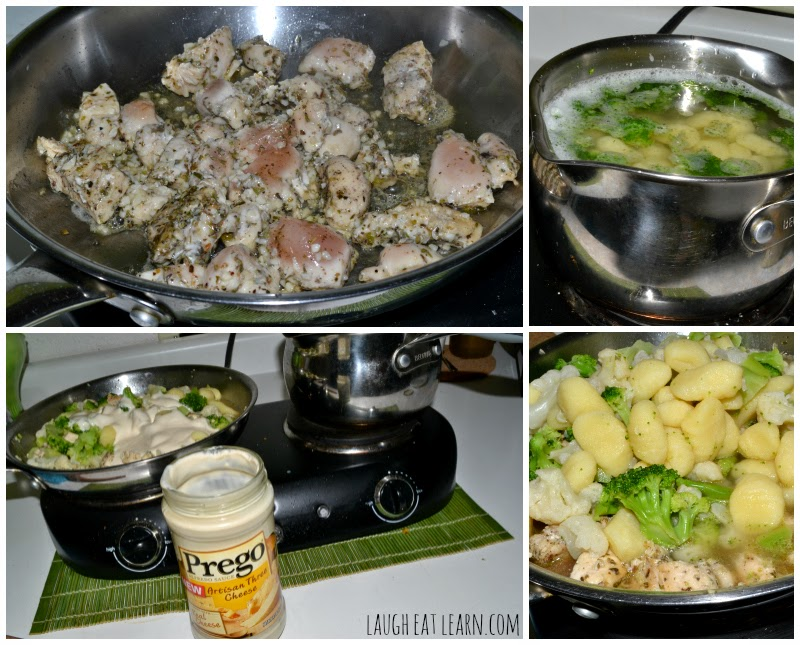 I was craving chicken and pasta so I threw together a few random things like broccoli, chicken, pesto, and gnocchi to come up with this recipe. I love the taste of the white herbed alfredo sauce with the pillows of gnocchi. An easy weekend meal for your family.