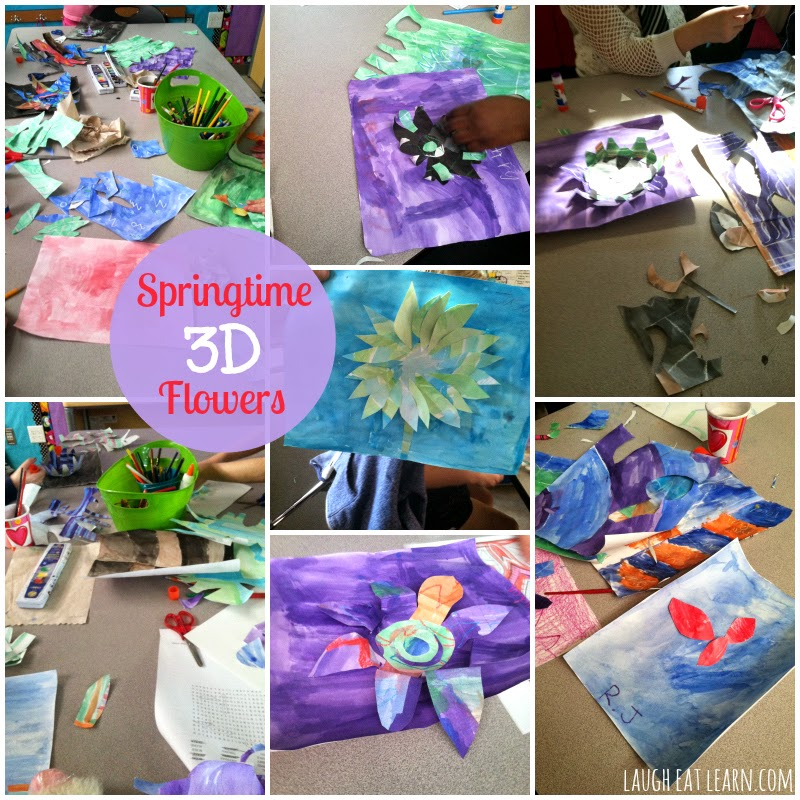 I decided my kids need an afternoon of art. I'm a huge component of watercolor in the classroom so we used watercolor to create these 3-D flowers come to life. Students will love creating their own flowers!