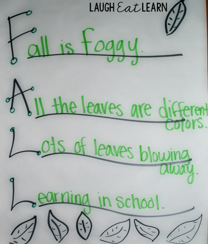 I love using acrostic poems during the fall seasons because there are so many things that can be described. My students always are able to quickly create these poems from their schema. It's a no hassle fun way to introduce a simple form of poetry.
