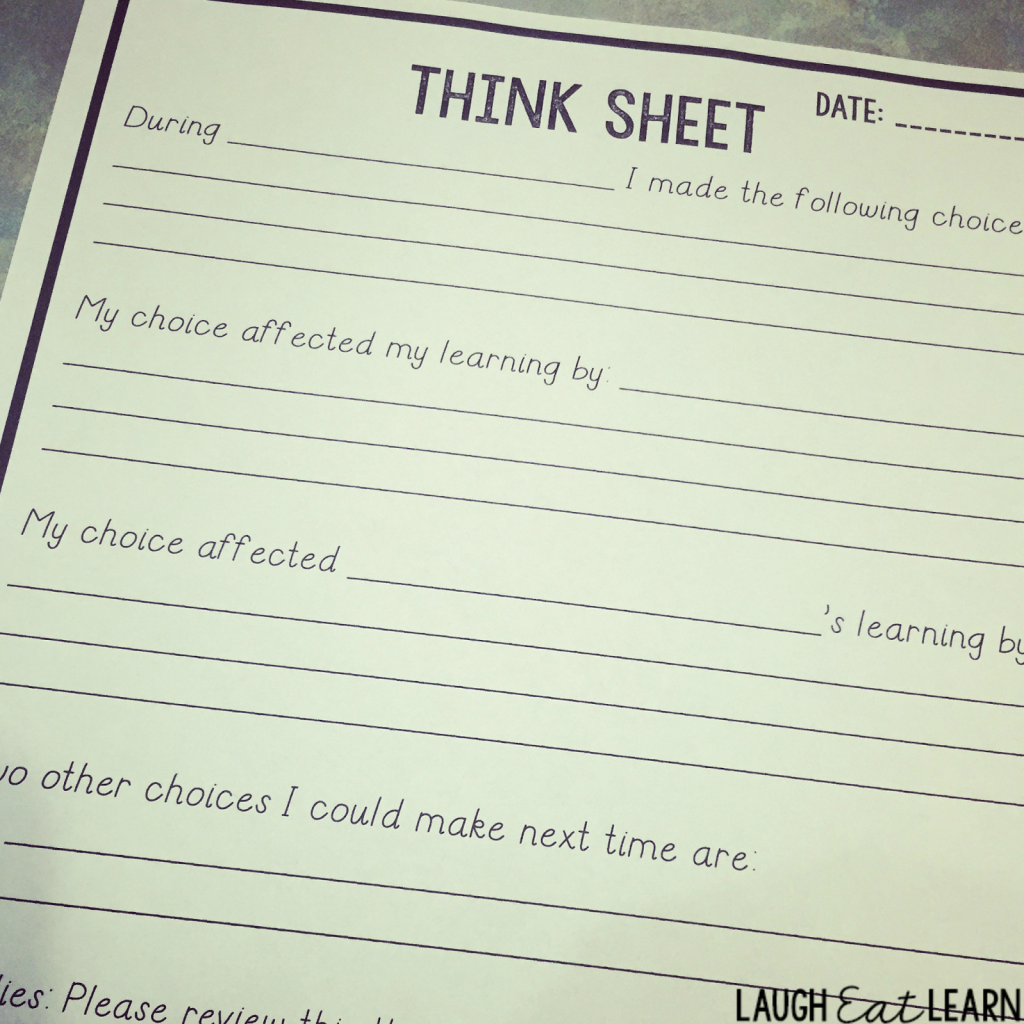 Have students think over their actions and put it into words so they can work through their thought process for making those decisions. I use these FREE Think Sheets all the time in my classroom. It gives my students a chance to cool down, reflect, and revise themselves in a quick way.