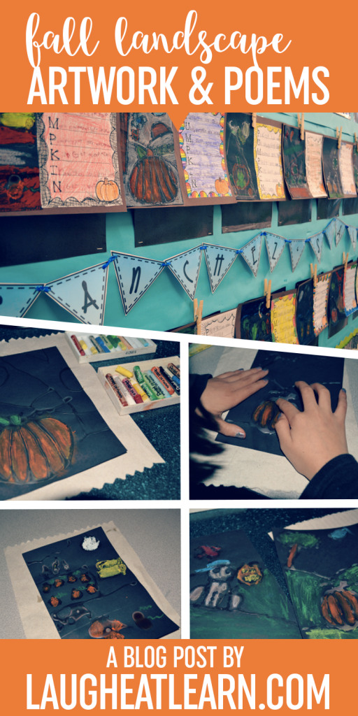 Looking for a fall art project that stills helps build writing skills? My students love creating acrostic poems so we paired them with these fall landscape art projects for the perfect classroom hallway display!
