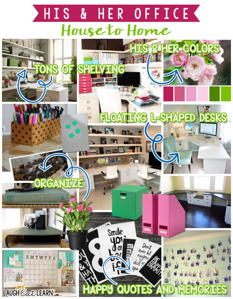 Our space is now shared in our office so I've gathered some ideas that will help this small room work efficiently. These ideas are perfect for any layout for your home office.
