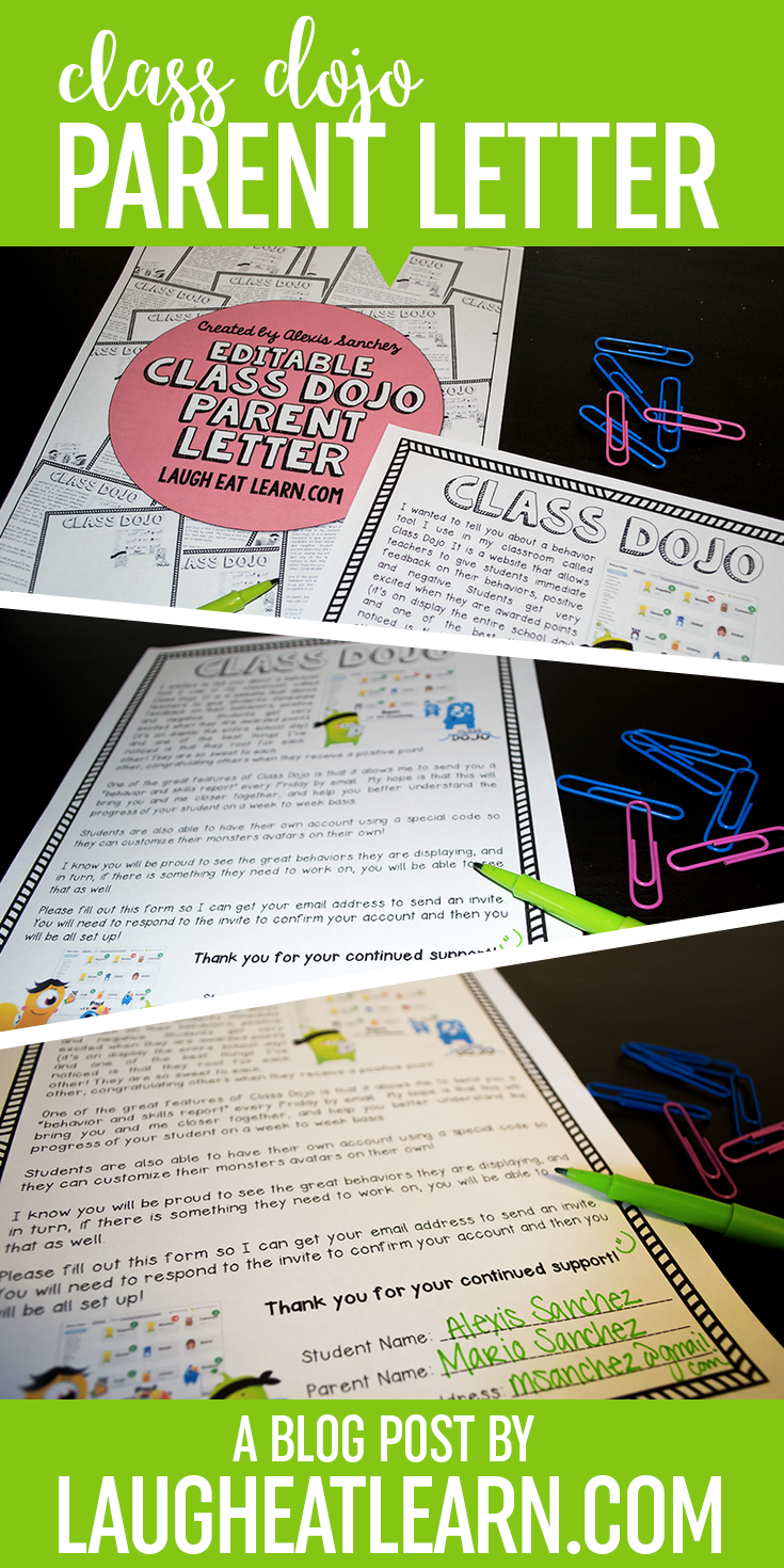 Editable Class Dojo Letter Freebie  Laugh Eat Learn