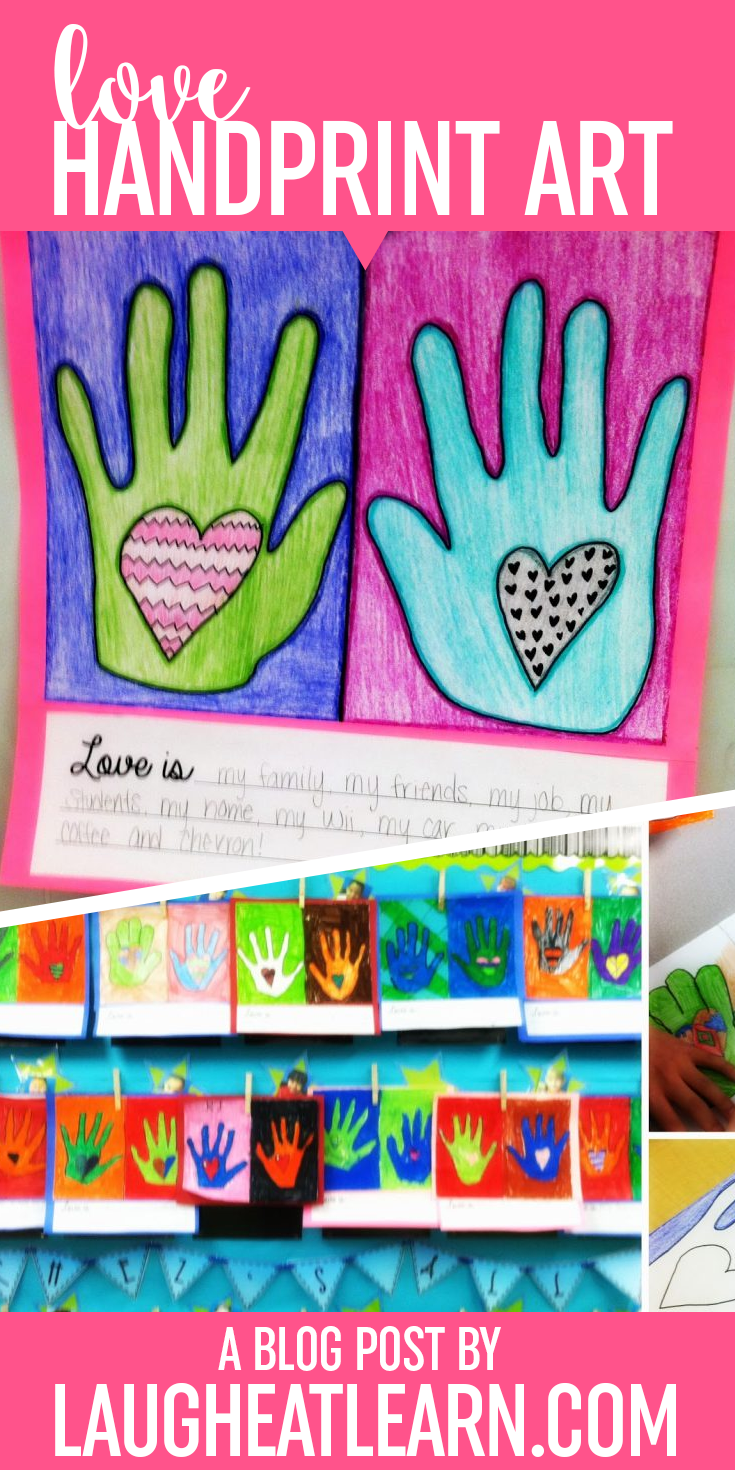 With Valentine's Day around the corner, I had my students create these handprint art projects with partners. They then wrote a couple sentences about what love it. Grab the freebie and share love in your classroom today!