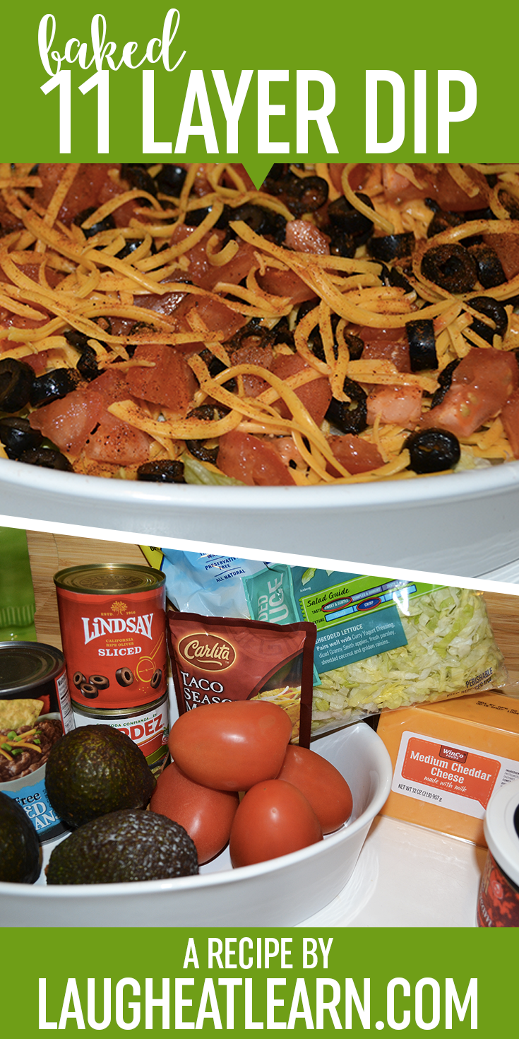 This 11 layer dip is the BEST recipe for any party or gathering. It's baked with taco seasoning and layered with avocado, sour cream, and cheese. Just add the tortilla chips and you are ready to go!