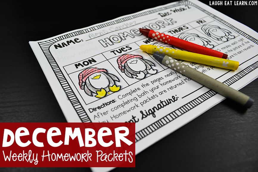 December Weekly Homework Packets