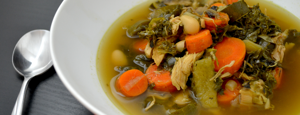 "This homemade Chicken ""Bone"" Soup is a slow cooker staple in our household. We love how easy, quick, and flexible it is depending on the veggies we have at home at the time. Using a leftover rotisserie chicken is the base of this healthy and hearty recipe."