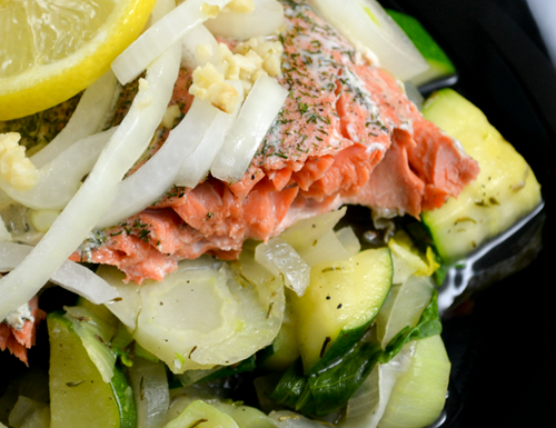 Seasoned Salmon & Veggies in Foil