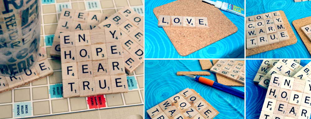 DIY Scrabble Tile Coasters