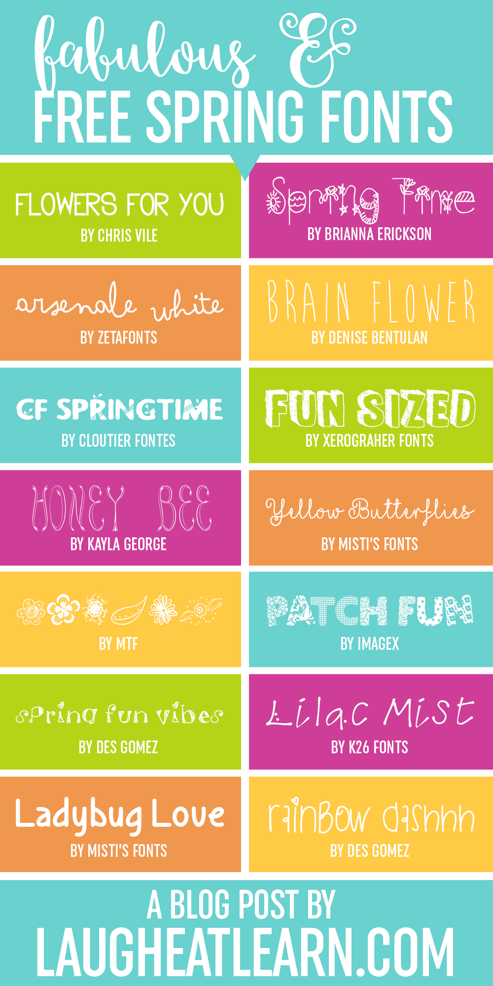 Whether it's raining, cloudy, or the sun is shining, you'll love these fun, funky, and FREE fonts perfect for any spring themed projects you are going to be working on.