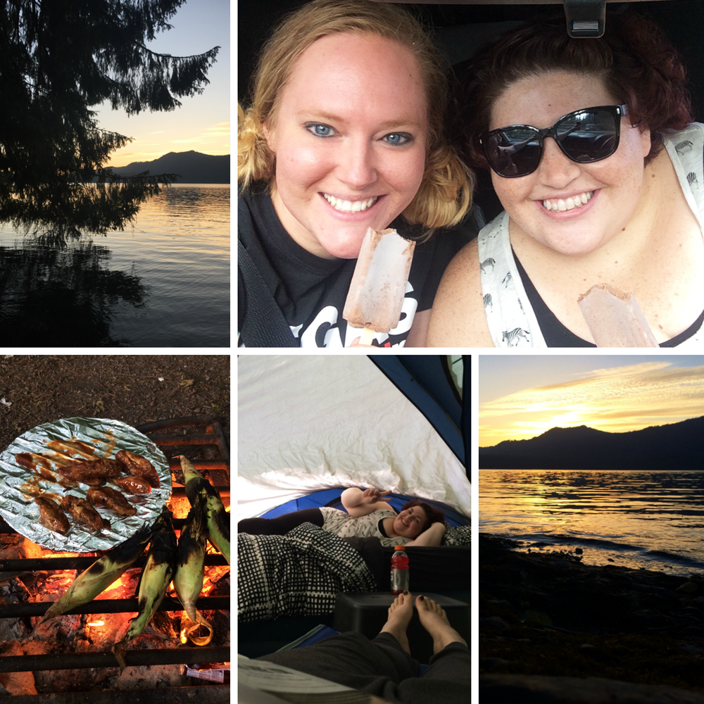 Summer girls camping trip to the lake.