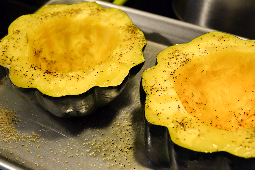 This chicken stuffed acorn squash is perfect for any weeknight or dinner party you have during the autumn season. It's an healthy alternative to potatoes within your meal, making it a low-carb meal that tasty and delicious. The best part is you can easily switch out the protein with turkey leftovers or make it completely vegetarian. This fall inspired dish is great for all!