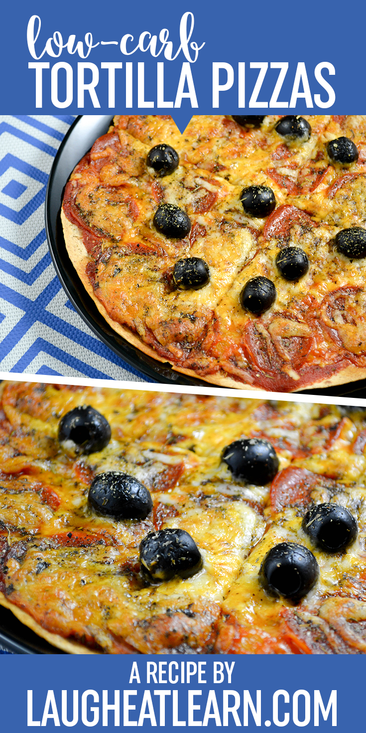 This low carb pizza is the perfect lunch or dinner when you are craving pizza! With the use of low carb tortillas, you are able to dress up your pizza however you want and quickly get this meal into the oven. The tortilla gets crispy on the bottom, giving you that delicious thin pizza feeling.