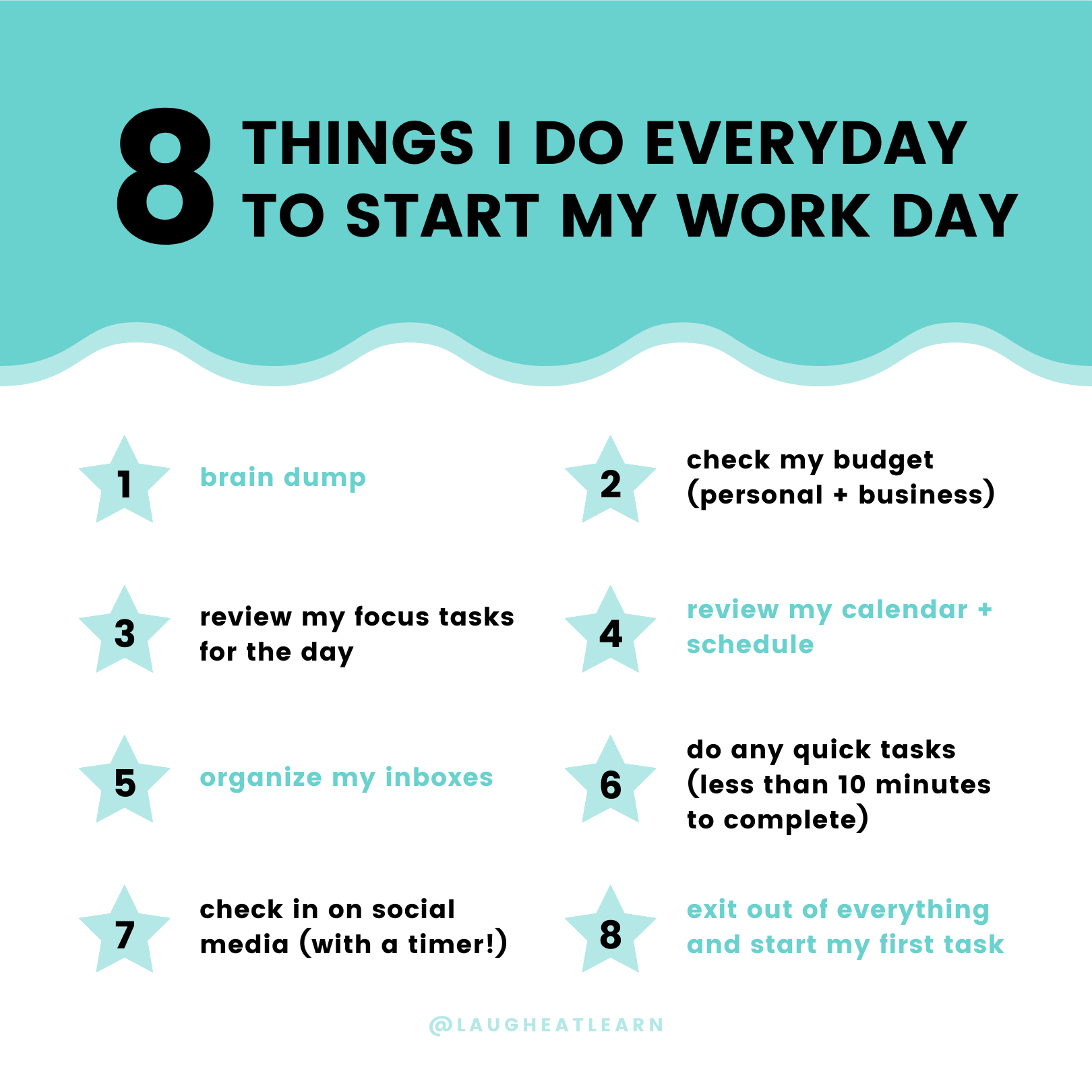 Over the years, I've worked really hard on creating a system or order of events that works best for to start my workday. This helps me setup for success and helps me ease into the day versus just jumping right in to tasks.